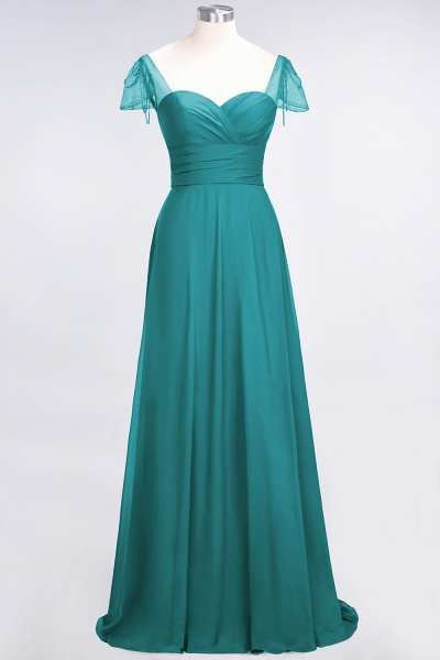 A-Line Chiffon Sweetheart Cap-Sleeves Ruffle Floor-Length Bridesmaid Dress with Beadings_31