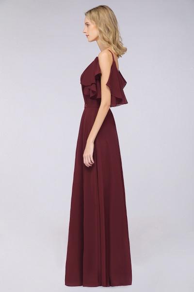 A-Line Chiffon V-Neck Straps Sleeveless Ruffles Floor-Length Bridesmaid Dress with Pearls_4