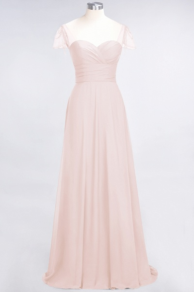A-Line Chiffon Sweetheart Cap-Sleeves Ruffle Floor-Length Bridesmaid Dress with Beadings_5