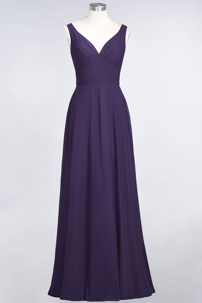 A-Line Chiffon V-Neck Straps Sleeveless Ruffles Floor-Length Bridesmaid Dress with Open Back_18
