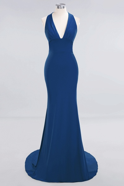 BM0670 Elegant Mermaid Halter Pool V-neck Bridesmaid Dress_23