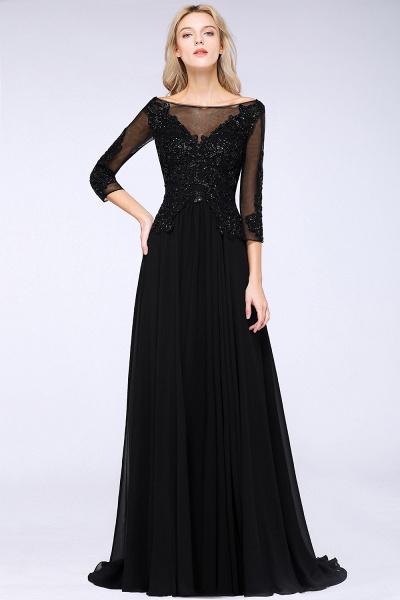 BM0764 Black 3/4 Sleeves Beads A-Line Appliques Bridesmaid Dress_3