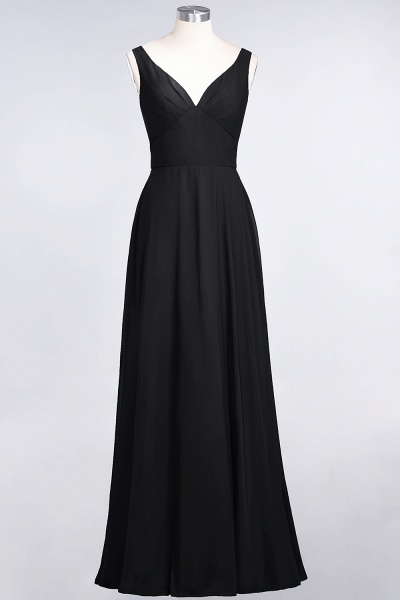 A-Line Chiffon V-Neck Straps Sleeveless Ruffles Floor-Length Bridesmaid Dress with Open Back_28