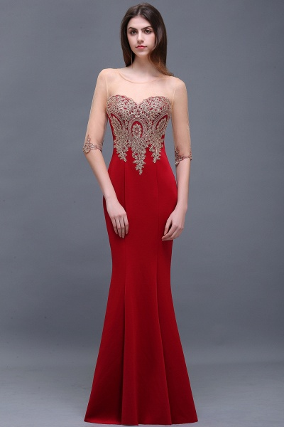 BM0131 Red Half Sleeves Appliques Mermaid Beads Bridesmaid Dresses