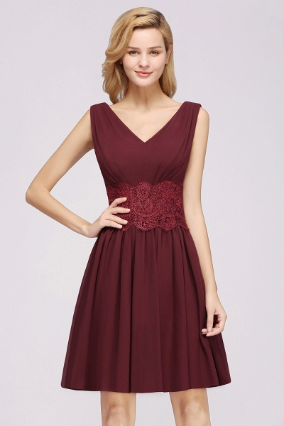 A-line Chiffon Lace V-Neck Sleeveless Mini Bridesmaid Dresses_35