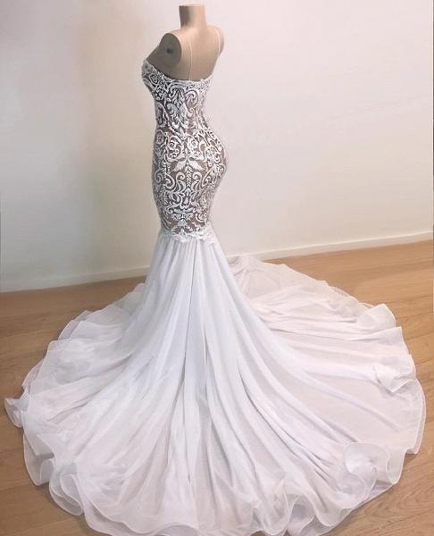 Awesome Spaghetti Straps Appliques Mermaid Prom Dress_2