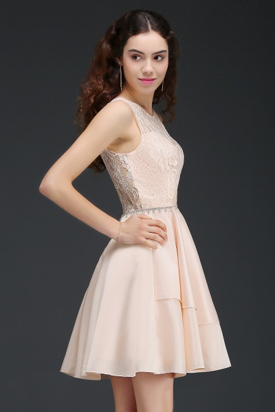 BM0822 Simple Short Pink Lace Beads Open Back Bridesmaid Dresses_4