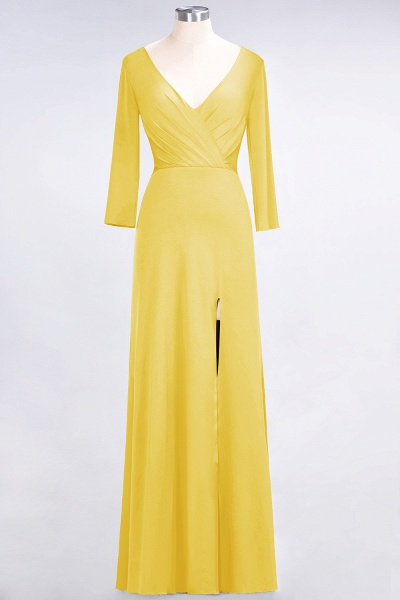 A-Line Spandex V-Neck Long-Sleeves Side-Slit Floor-Length Bridesmaid Dress with Ruffles_15