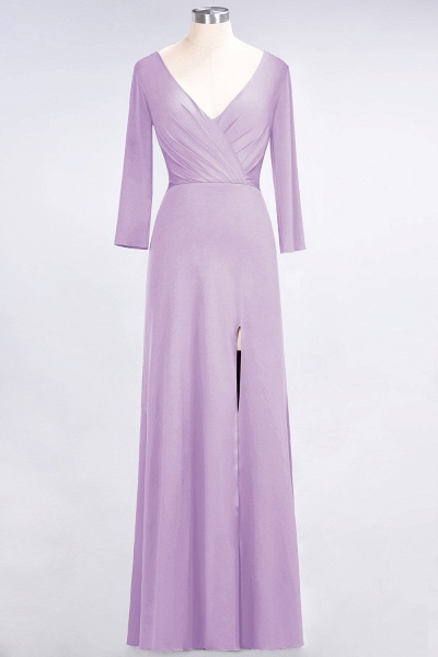 A-Line Spandex V-Neck Long-Sleeves Side-Slit Floor-Length Bridesmaid Dress with Ruffles_18