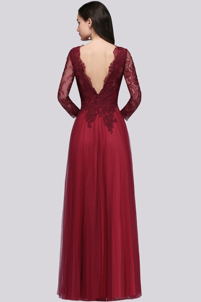 BMbridal Long Sleeves V-Neck Lace Burgundy Bridesmaid Dresses with Appliques_2