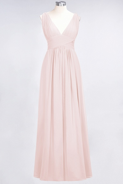 A-Line Chiffon V-Neck Sleeveless Floor-Length Bridesmaid Dress with Ruffle_5