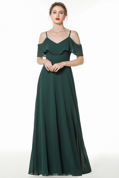 BM0826 Simple Spaghetti Straps Open Back Long Bridesmaid Dress_1