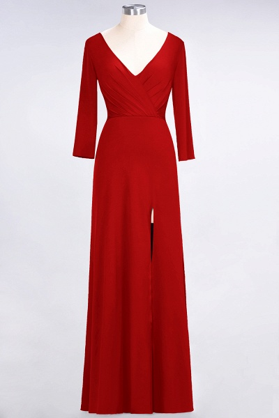 A-Line Spandex V-Neck Long-Sleeves Side-Slit Floor-Length Bridesmaid Dress with Ruffles_7