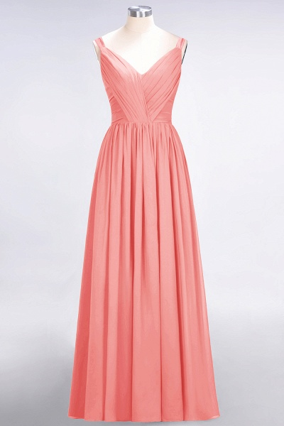 A-Line Chiffon Straps V-Neck Sleeveless Backless Floor-Length Bridesmaid Dress with Ruffles_7