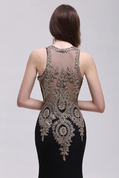 BM0121 Straps Black Mermaid Appliques Sleeveless Bridesmaid Dresses_5