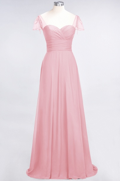 A-Line Chiffon Sweetheart Cap-Sleeves Ruffle Floor-Length Bridesmaid Dress with Beadings_4