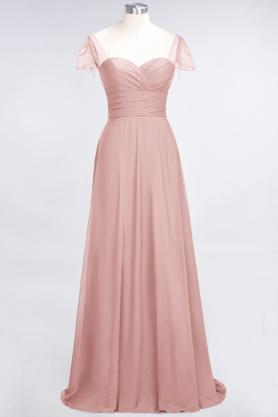 A-Line Chiffon Sweetheart Cap-Sleeves Ruffle Floor-Length Bridesmaid Dress with Beadings_6