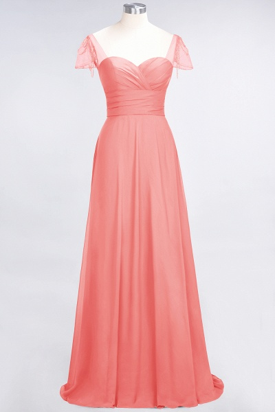 A-Line Chiffon Sweetheart Cap-Sleeves Ruffle Floor-Length Bridesmaid Dress with Beadings_7