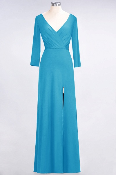 A-Line Spandex V-Neck Long-Sleeves Side-Slit Floor-Length Bridesmaid Dress with Ruffles_22
