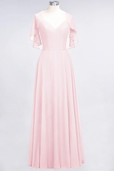 A-Line Chiffon Satin V-Neck short-sleeves Floor-Length Bridesmaid Dress_3