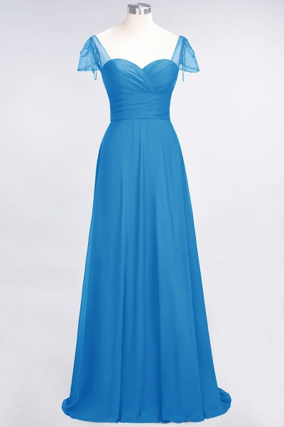 A-Line Chiffon Sweetheart Cap-Sleeves Ruffle Floor-Length Bridesmaid Dress with Beadings_24