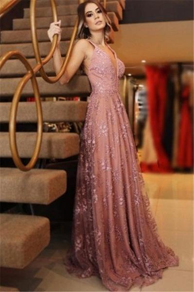 Attractive Spaghetti Straps Appliques A-line Prom Dress_1