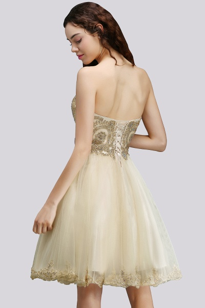 BM0120 Sweetheart Tulle Lace-Up Appliques Short Bridesmaid Dresses_3