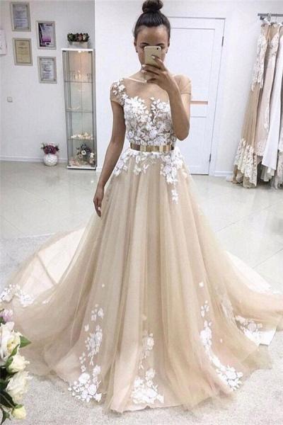 Graceful Jewel Ribbons A-line Prom Dress_1