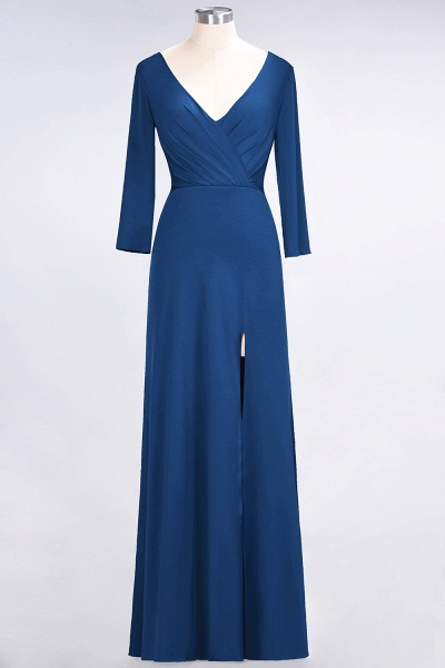 A-Line Spandex V-Neck Long-Sleeves Side-Slit Floor-Length Bridesmaid Dress with Ruffles_23