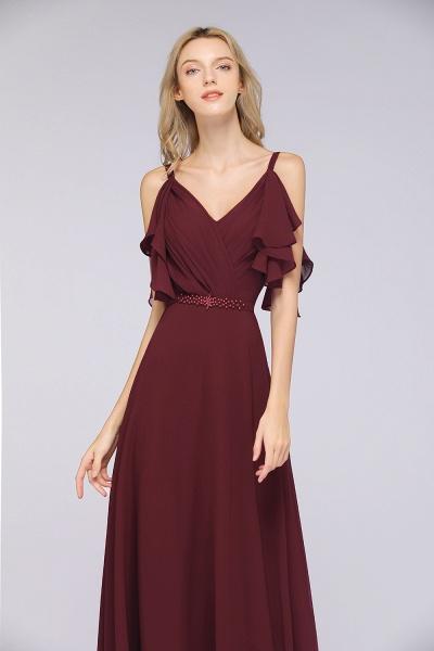 A-Line Chiffon V-Neck Straps Sleeveless Ruffles Floor-Length Bridesmaid Dress with Pearls_5