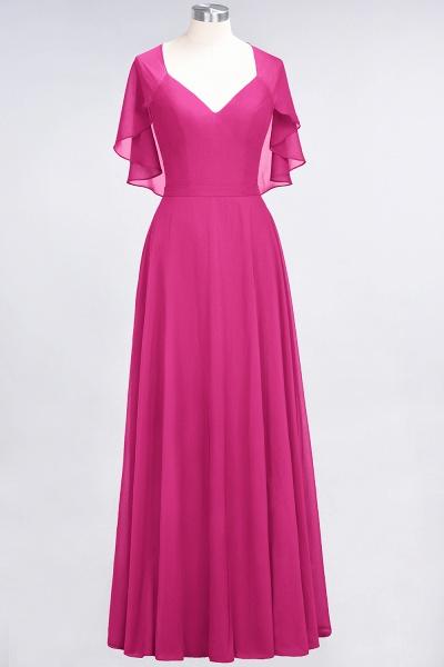 A-Line Chiffon Satin V-Neck short-sleeves Floor-Length Bridesmaid Dress_9