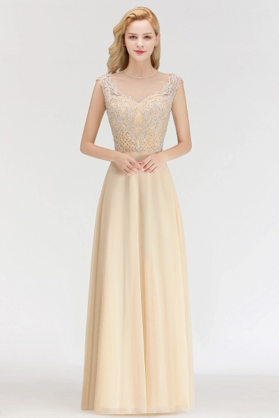 BM0074 Elegant A-Line Champagne Sleeveless Crystal Jewel Bridesmaid Dress_1