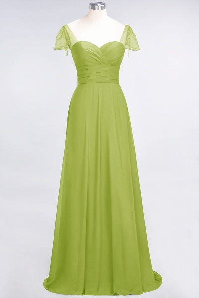 A-Line Chiffon Sweetheart Cap-Sleeves Ruffle Floor-Length Bridesmaid Dress with Beadings_32