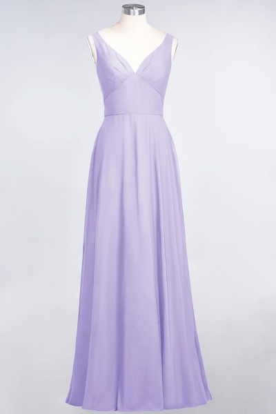 A-Line Chiffon V-Neck Straps Sleeveless Ruffles Floor-Length Bridesmaid Dress with Open Back_20