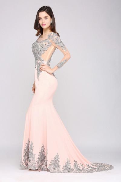 BM0129 Pink Mermaid Long Sleeves Appliques Beads Bridesmaid Dresses_4