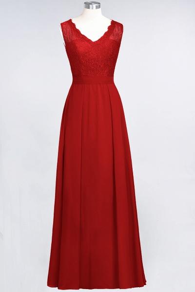 A-Line Chiffon Lace V-Neck Sleeveless Floor-Length Bridesmaid Dress_8