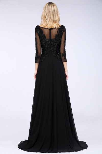 BM0764 Black 3/4 Sleeves Beads A-Line Appliques Bridesmaid Dress_2