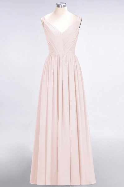 A-Line Chiffon Straps V-Neck Sleeveless Backless Floor-Length Bridesmaid Dress with Ruffles_5