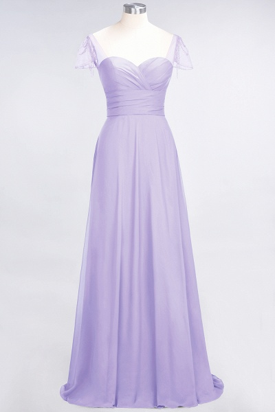 A-Line Chiffon Sweetheart Cap-Sleeves Ruffle Floor-Length Bridesmaid Dress with Beadings_20