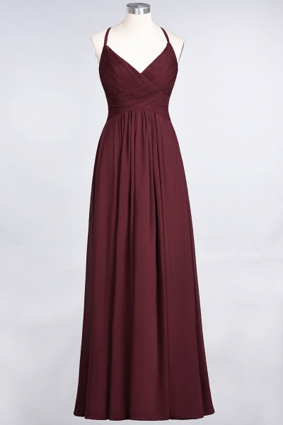 A-Line Chiffon Spaghetti-Straps V-Neck Sleeveless Floor-Length Bridesmaid Dress with Ruffles_10