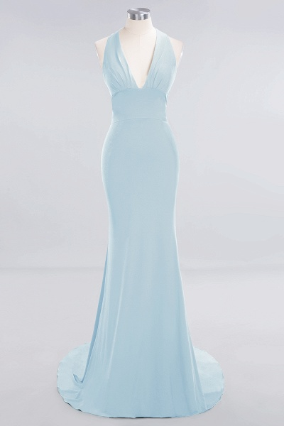 BM0670 Elegant Mermaid Halter Pool V-neck Bridesmaid Dress_20