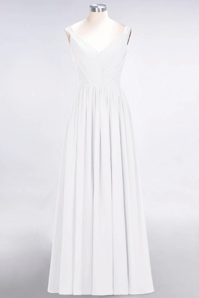 A-Line Chiffon Straps V-Neck Sleeveless Backless Floor-Length Bridesmaid Dress with Ruffles_1