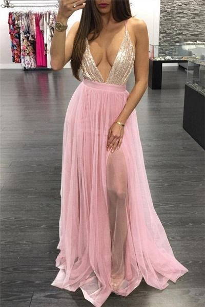 Exquisite Spaghetti Straps Appliques A-line Prom Dress_1
