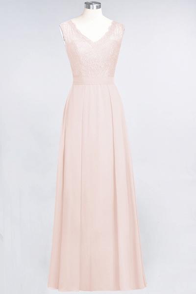 A-Line Chiffon Lace V-Neck Sleeveless Floor-Length Bridesmaid Dress_5