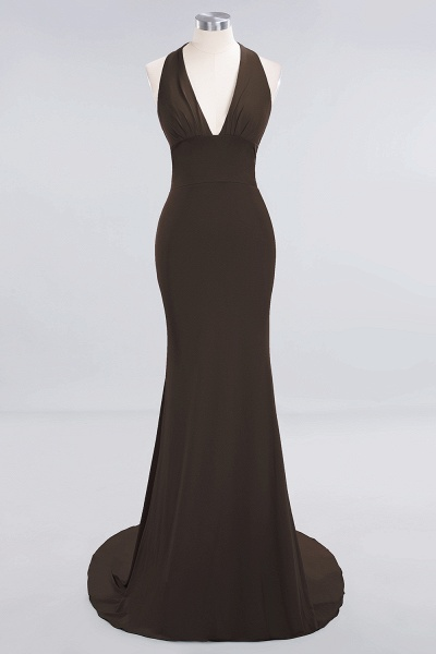 BM0670 Elegant Mermaid Halter Pool V-neck Bridesmaid Dress_10