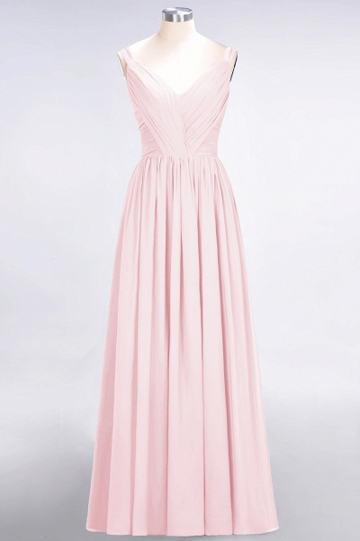 A-Line Chiffon Straps V-Neck Sleeveless Backless Floor-Length Bridesmaid Dress with Ruffles_3
