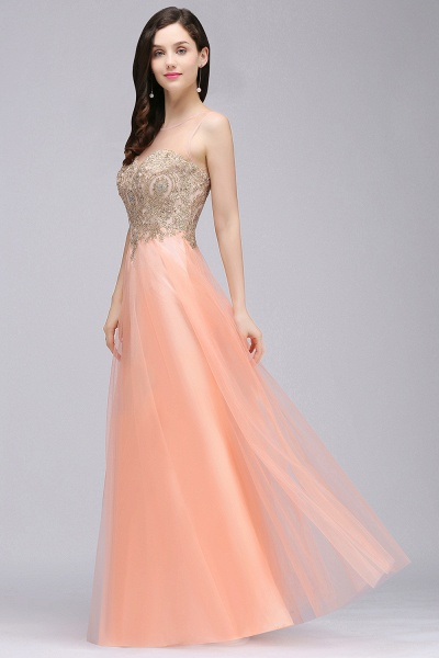 BM0125 A-line Open Back Sleeveless Appliques Tulle Bridesmaid Dresses_4