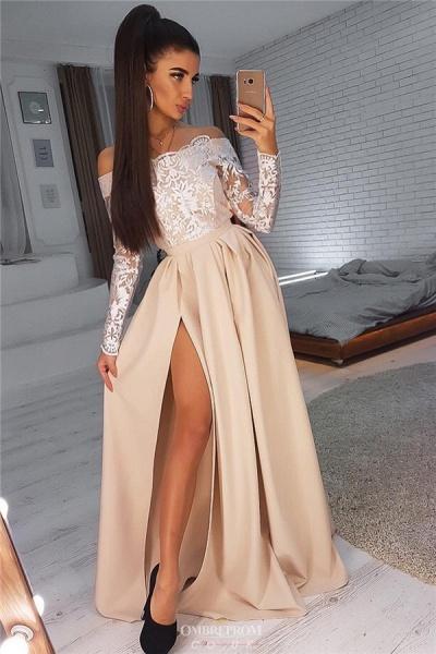 Beautiful Off-the-shoulder Split Front A-line Evening Dress_1