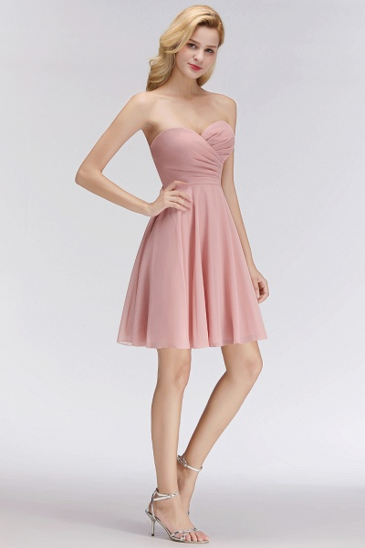 BM0060 Simple Pink Sweetheart Short Bridesmaid Dress_5