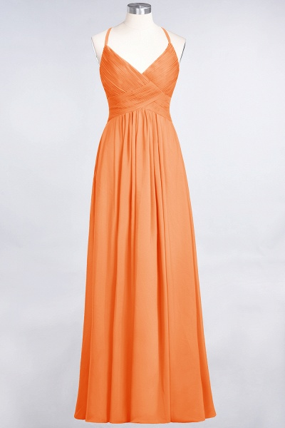A-Line Chiffon Spaghetti-Straps V-Neck Sleeveless Floor-Length Bridesmaid Dress with Ruffles_15